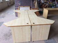 Four Light Oak Matching Desks