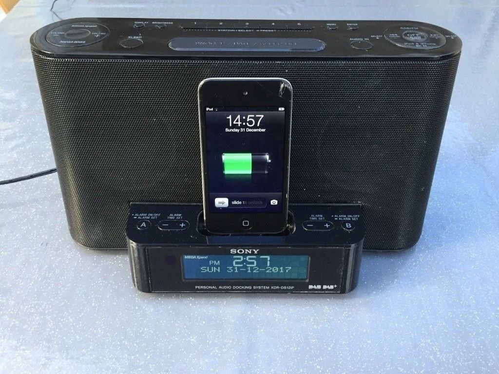 sony xdr ds12ip ipod iphone mp3 speaker charger dock dab. Black Bedroom Furniture Sets. Home Design Ideas