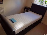 DREAMS SINGLE BED FRAME + MATTRESS + Sprung Slats (12 month old, great condition)