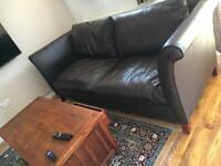 Real leather sofa set and solid wood table