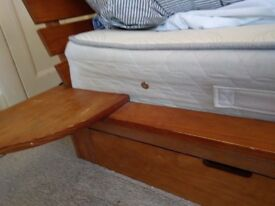 Single Wooden Bed + built-in side table, + under storage drawer
