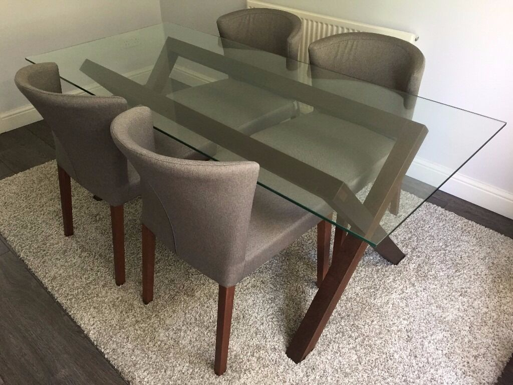 Habitat DUBLIN Walnut Stain And Glass Dining Table 4 X Chairs Set RRP GBP1095