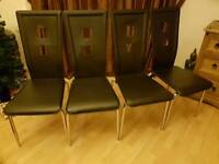 4 four faux leather dining chairs