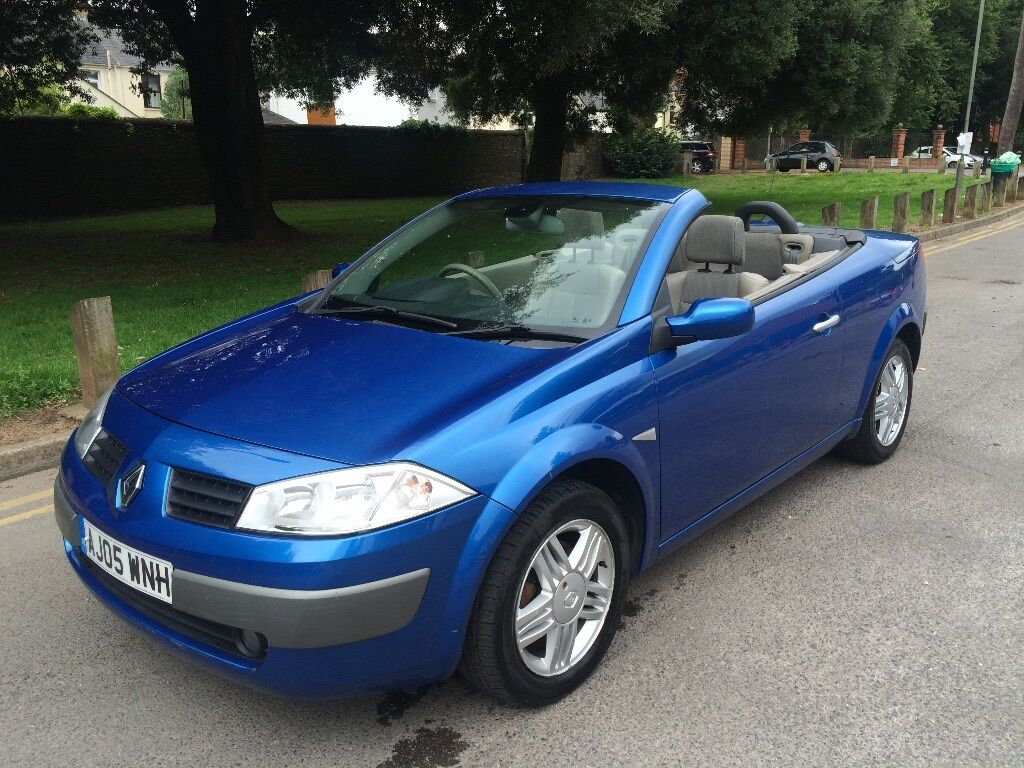 renault megane convertible 1 9 diesel 2005 blue in. Black Bedroom Furniture Sets. Home Design Ideas