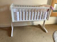 Mothercare rocking white crib £20