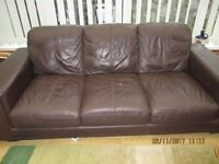 FREE Modern brown leather settee.