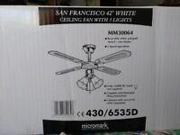 San Francisco 42inch white ceiling fan w/3 lights