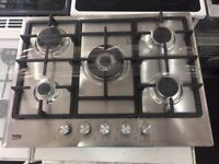 NEW-NEW**5 Burner Gas Hobs stainless steel warranty included call today or visit us