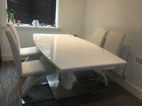 Dining Table In White Gloss With Chrome Base and 4 Demi Z Dining Chairs In White Faux Leather