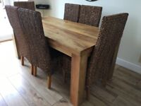 Solid wood dining table, 6 chairs and matching console table