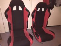Racing seats RED/BLACK with universal rails