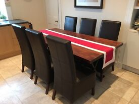 "Excellent Dining Room Table with 6 Brown ""Next"" Faux Leather Chairs - £200 ono."