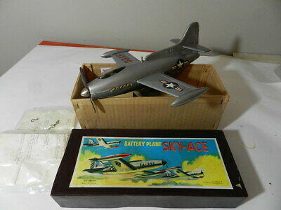 VINTAGE 1950'S SKY-ACE TIN TOY AIRPLANE- BATTERY OPERATED-VINTAGE  MILITARY JET