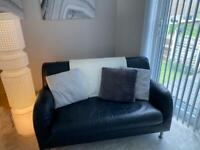 IKEA black real leather sofa and chair