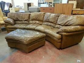 Large tan leather corner sofa with matching pouffe set