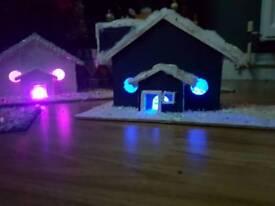 Hand made Christmas houses with lights
