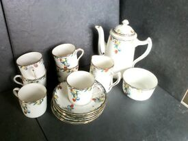 Sampson smith, wetley vintage bone china coffee set, dated to around 1930