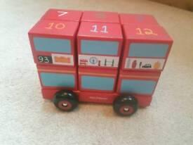 Wooden number blocks bus