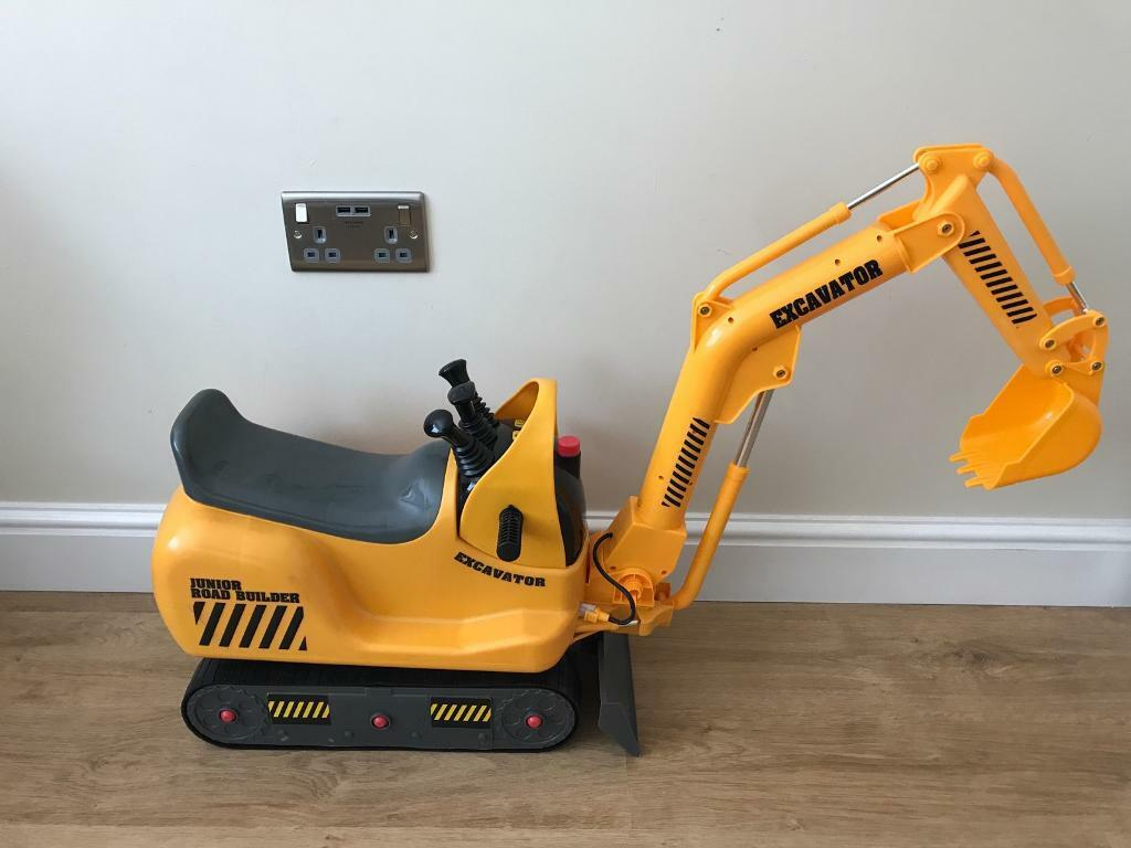 children s yellow digger junior road builder excavator in long