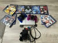 Silver PlayStation 2 PS2 Slim / Region Free / New Laser with 10 Amazing Games Including All Wwf/e
