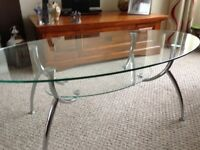 Clear Glass and Chrome Table