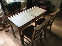 Vintage 1960's childrens school desk and 2 chairs