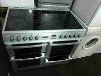 Leisure 100cm glass top electric range cooker silver