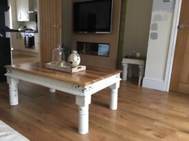 Shabby chic coffee table and matching lamp table