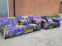 Fantastic Brand New Fabric Patchwork Sofa Suite in Printed Crushed Velvet , 3+2, Can deliver