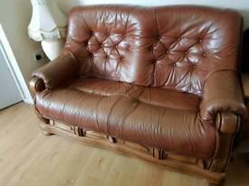 Tan leather 4 piece suite