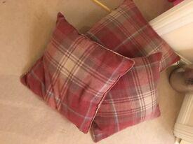 Next Stirling red tartan cushions