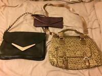 2 handbags and purse