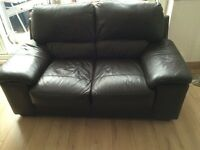 2 Seater Brown Leather Sofa,