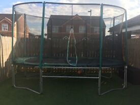 8x14 ft SkyHigh Oval Trampoline with Enclosure and New Jump Mat