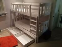 Wooden bunk bed triple or double with storage £50