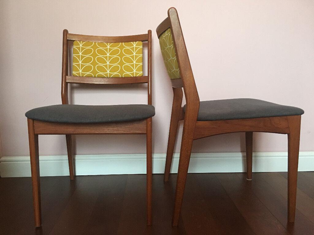 Orla Kiely Print Mid Century Danish Teak Dining Chairs X4
