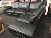 New/Ex Display ScS Black Leather Corner Sofa
