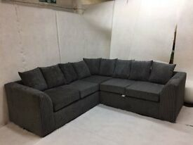 BRAND NEW COSY LIVERPOOL JUMBO CORD CORNER SOFA ON SPECIAL OFFER