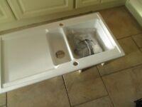 New Ceramic Kitchen Sink 1 1/2 bowls plus drainer