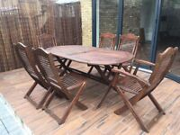 Solid teak outdoor furniture - dining set with 6 chairs