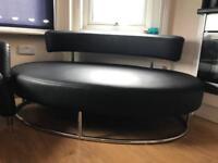 Contemporary Chrome + Black Imitation Leather Sofa