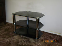 Small black and chrome TV table