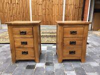 Pair of Oak 3 drawer bedside cabinets