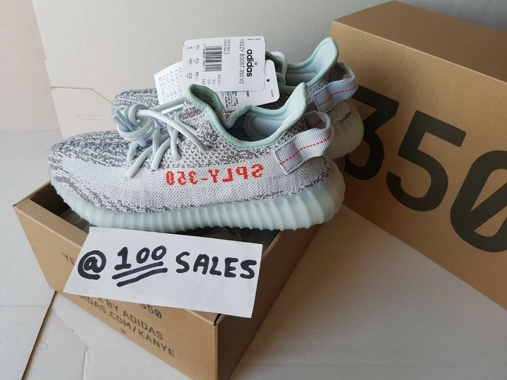 4d86fc2ec9991 ADIDAS x Kanye West Yeezy Boost 350 V2 BLUE TINT Grey/Blue UK5.5 US6 B37571  ADIDAS RECEIPT 100sales