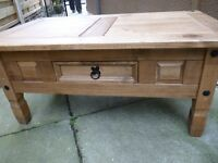 TABLE, COLONIAL STYLE, SOLID WOOD, CENTRE DRAWER FEATURE, GOOD CONDITION, £25