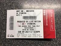 U2 Tickets for the Joshua Tree Tour in London Sunday 9th July.