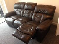 3 seater reclining chocolate brown leather sofa