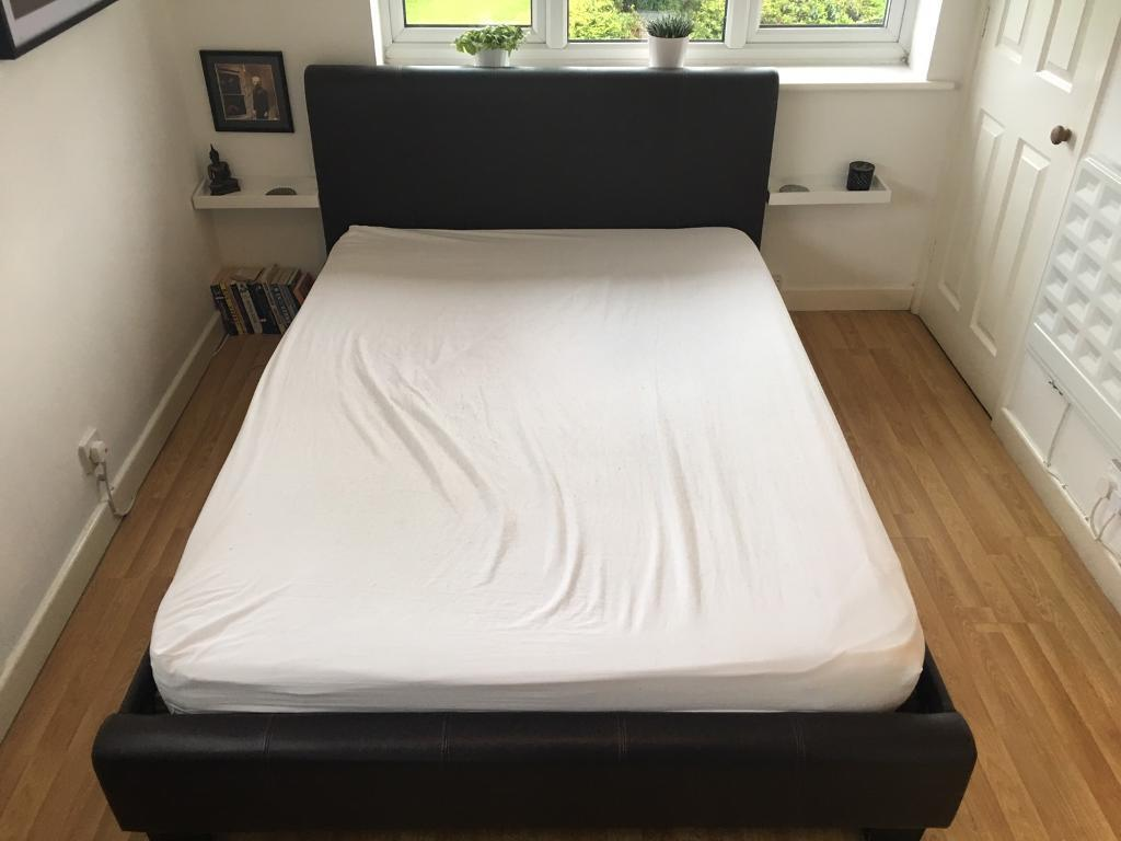 Leather double bed.
