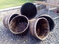 Wooden half barrels for planters