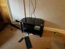 REDUCED PRICE** Black glass TV stand and pc table